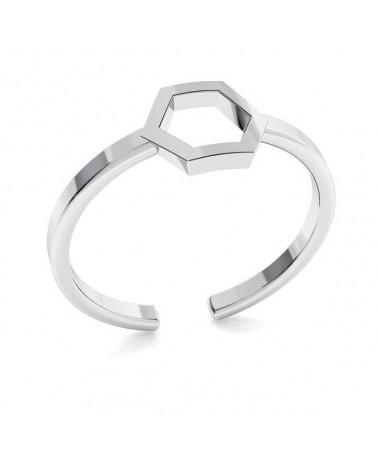 Srebrny pierścionek z sześciokątem