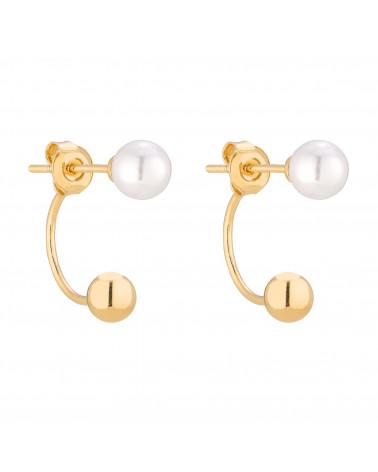 Złote kolczyki kuleczki z białymi perłami SWAROVSKI® CRYSTAL