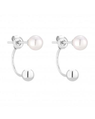 Srebrne kolczyki kuleczki z białymi perłami SWAROVSKI® CRYSTAL