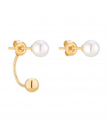 Złote asymetryczne kolczyki z białymi perłami SWAROVSKI® CRYSTAL