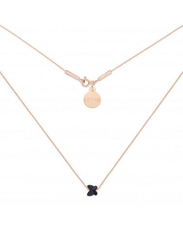 Naszyjnik z różowego złota zdobiony czarnym motylkiem SWAROVSKI® CRYSTAL