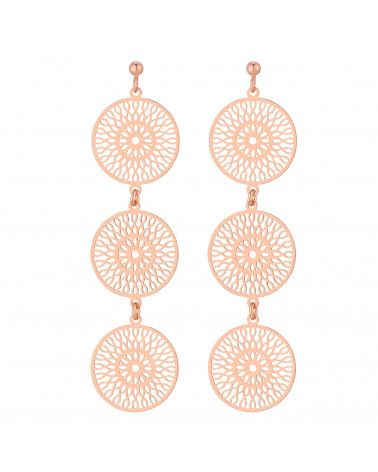 Długie kolczyki potrójne rozetki w różowym złocie