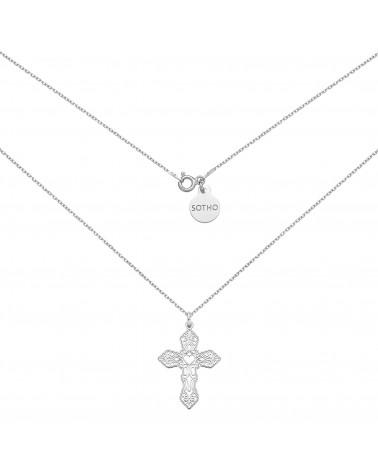 Srebrny naszyjnik z ażurowym krzyżem