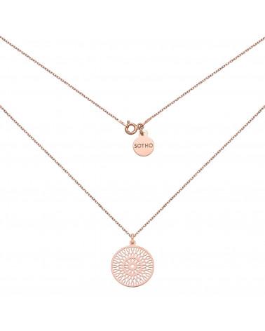 Naszyjnik z dużą rozetą w różowym złocie