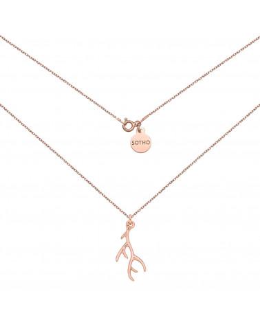 Naszyjnik z porożem jelenia w różowym złoceniu