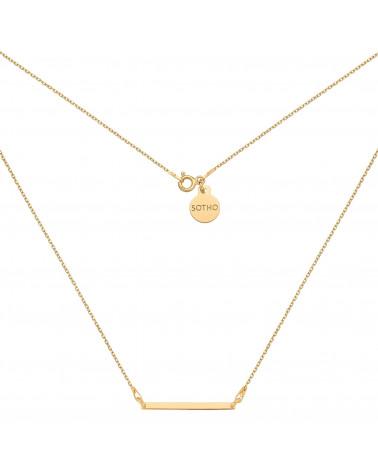 Złoty naszyjnik z delikatną prostokątną blaszką