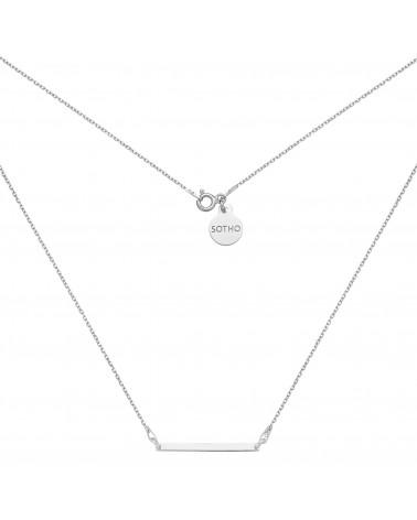 Srebrny naszyjnik z delikatną prostokątną blaszką