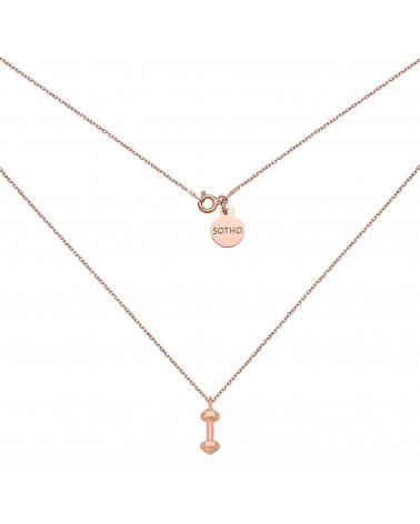Naszyjnik z hantlą w różowym złoceniu