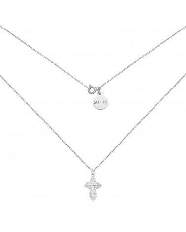 Srebrny naszyjnik z ozdobnym krzyżem