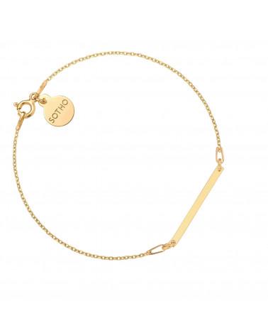 Złota bransoletka z delikatną prostokątną blaszką