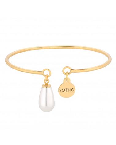 Złota bransoletka z białą perłą SWAROVSKI® CRYSTAL
