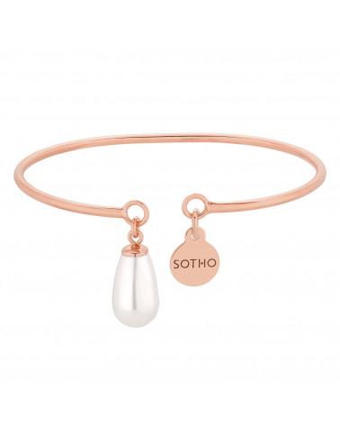 Bransoletka z białą perłą SWAROVSKI® CRYSTAL w różowym złocie