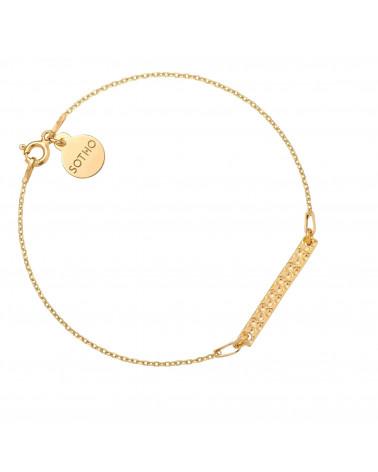 Złota bransoletka z chropowatą blaszką
