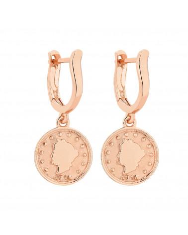 Kolczyki z monetą z różowego złota