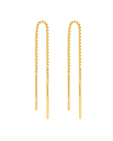 Złote przewlekane kolczyki