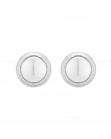Srebrne kolczyki z białą perłą SWAROVSKI® CRYSTAL
