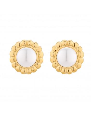 Złote kolczyki z białą perłą SWAROVSKI® CRYSTAL