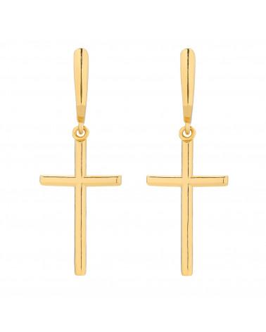 Złote kolczyki krzyże