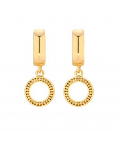 Złote kolczyki z ozdobnymi kółeczkami