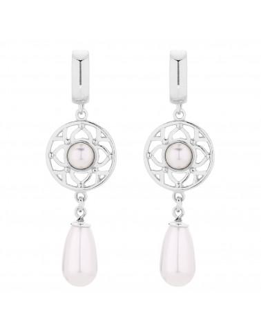 Srebrne kolczyki z białymi perłami SWAROVSKI® CRYSTAL