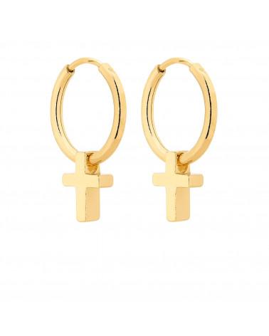 Złote kolczyki z krzyżykami
