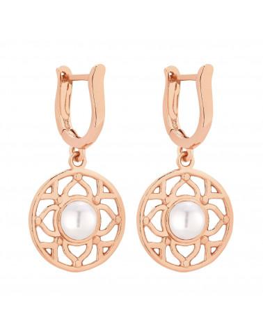 Kolczyki z różowego złota z białą perłą SWAROVSKI® CRYSTAL