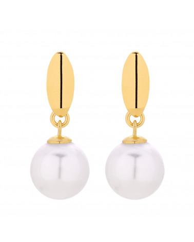 Złote kolczyki z białymi perłami SWAROVSKI® CRYSTAL