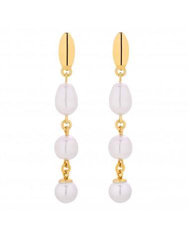 Złote długie kolczyki z białymi perłami SWAROVSKI® CRYSTAL