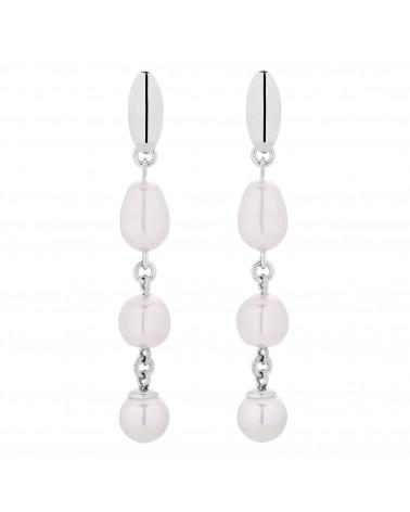 Srebrne długie kolczyki z białymi perłami SWAROVSKI® CRYSTAL