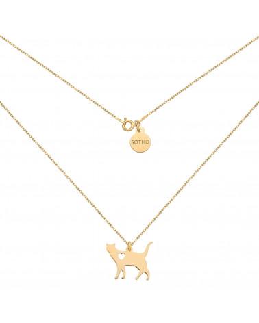 Złoty naszyjnik kot z serduszkiem