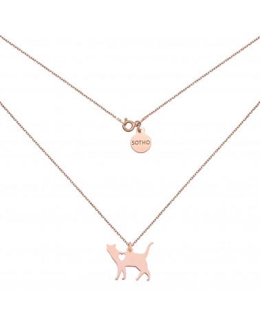 Naszyjnik w różowym złocie kot z serduszkiem