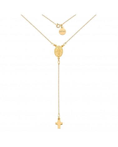 Złoty naszyjnik z medalikiem i krzyżykiem