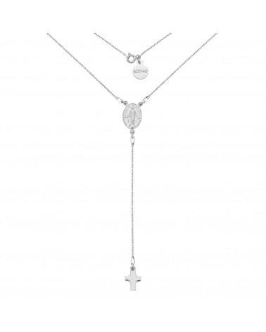 Srebrny naszyjnik z medalikiem i krzyżykiem