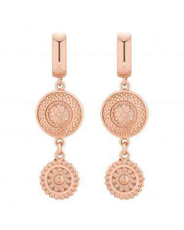 Kolczyki długie z różowego złota z rozetkami
