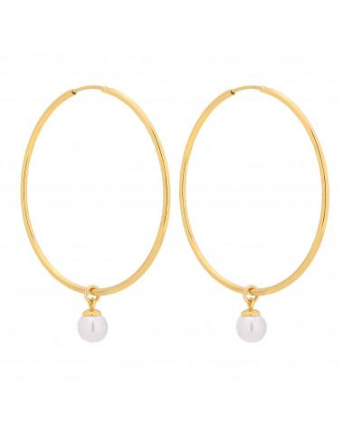 Złote kolczyki duże koła z białymi perłami SWAROVSKI® CRYSTAL