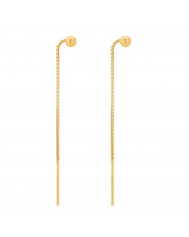 Złote przewlekane kolczyki z kuleczką