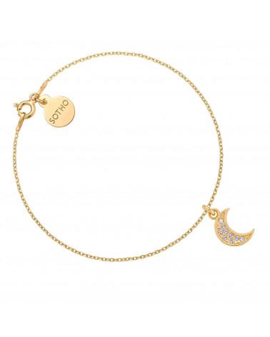Złota bransoletka z księżycem wysadzanym SWAROVSKI® CRYSTAL