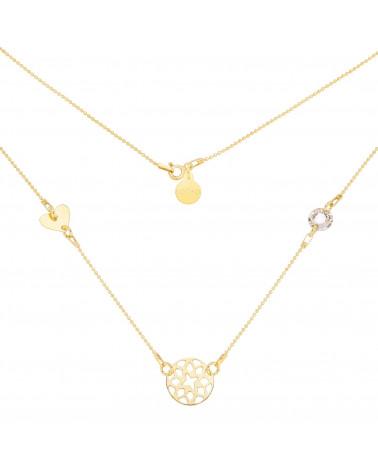Złoty naszyjnik z rozetką, serduszkiem i kryształem SWAROVSKI® CRYSTAL