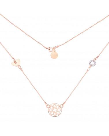 Naszyjnik z różowego złota z rozetką, serduszkiem i kryształem SWAROVSKI® CRYSTAL