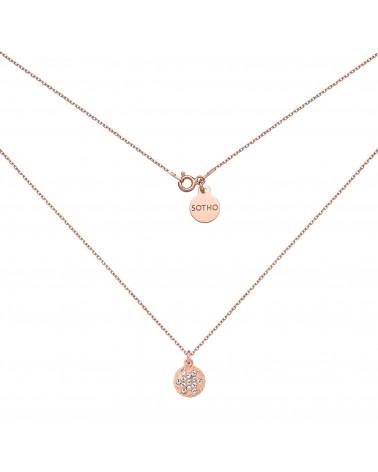 Naszyjnik z różowego złota z rozetką wysadzaną kryształkami SWAROVSKI® CRYSTAL
