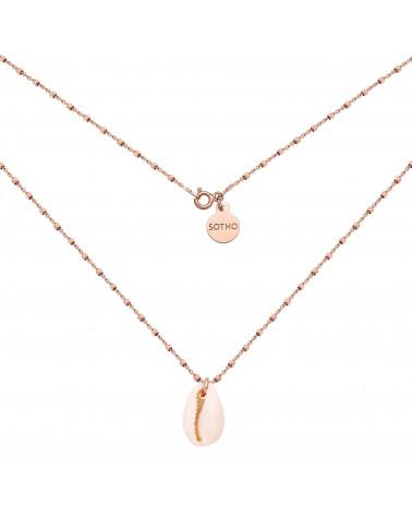 Naszyjnik z różowego złota zdobiony muszelką