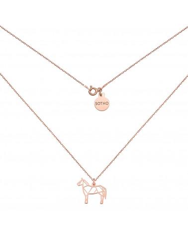 Naszyjnik z ażurowym koniem z różowego złota