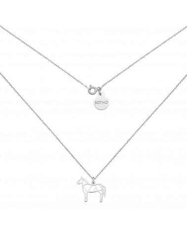 Srebrny naszyjnik z ażurowym koniem