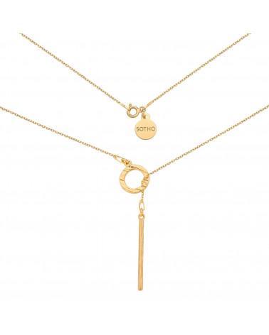 Złoty naszyjnik z rozetką i podłużną zawieszką