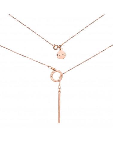 Naszyjnik z różowego złota z rozetką i podłużną zawieszką