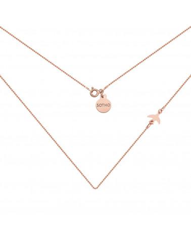 Naszyjnik z różowego złota z jaskółką