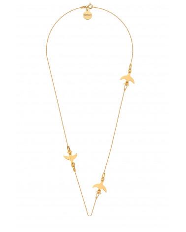 Złoty naszyjnik z jaskółkami