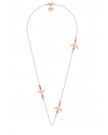 Naszyjnik z różowego złota z jaskółkami