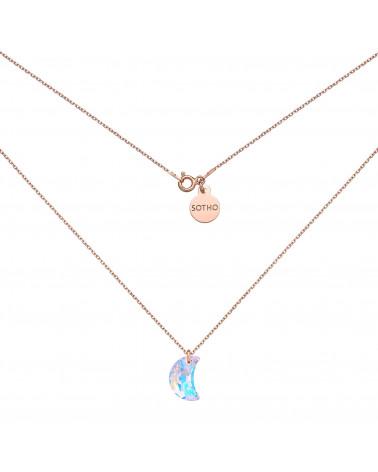 Naszyjnik z różowego złota z księżycem SWAROVSKI® CRYSTAL
