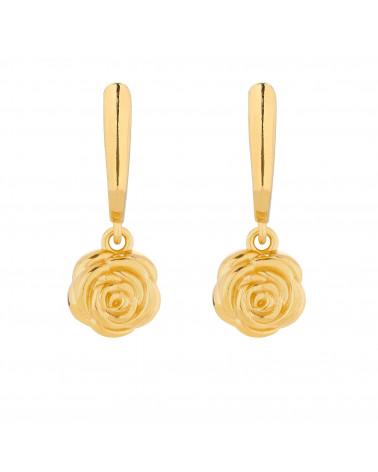 Złote kolczyki z różami